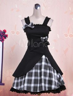 Vintage Gothic Steampunk Black Plaid Bow Cotton Lolita Jumper Skirt Dress in Clothing, Shoes & Accessories, Women's Clothing, Skirts Moda Lolita, Lolita Mode, Estilo Lolita, Lolita Shoes, Gothic Lolita Dress, Mori Girl, Lolita Fashion, Gothic Fashion, One Piece Dress