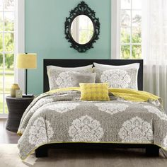 Fill your room with style and comfort every time you make your bed with the Ciara comforter set featuring an impressive damask print.