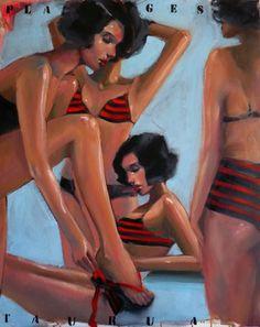 "Artist Pascale Taurua; Painting, ""Plages"" #art -  Pascale Taurua France Original $2,200"