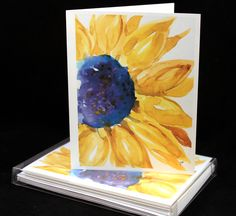 Sunny Sunflower Original Watercolor PRINT Note Card Set, Watercolor Cards, Watercolor Sunflowers, Sunflower Cards by McKinneyx2Designs on Etsy https://www.etsy.com/listing/466178268/sunny-sunflower-original-watercolor