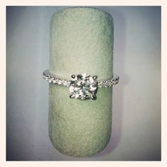 Engagement ring with 1.03ct round brilliant cut diamond with pave set diamonds on shank. DVVS Fine Jewelry
