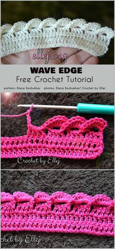 Wave Edge Free Crochet Pattern Edges are a sometimes overlooked aspect of crocheting projects. What's the point of crocheting a beautiful central motif for the project, and doing the edge Crochet Border Patterns, Crochet Blanket Border, Crochet Boarders, Crochet Stitches Free, Crochet Designs, Knitting Patterns, Crochet Edges For Blankets, Crochet Wave Pattern, Different Crochet Stitches