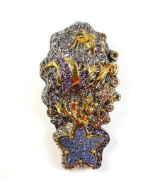 Oh My! Sea Life Design with Amethyst Gemstone Pin - Pendant