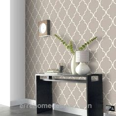 Living Room Wallpaper Accent Wall Patterns 42 New Ideas Tile Wallpaper, Textured Wallpaper, Wallpaper Ideas, Bedroom Wallpaper Accent Wall, Easy Wallpaper, Wallpaper Decor, Trendy Wallpaper, Home Depot Wallpaper, Moroccan Wallpaper