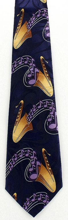 New Cartoon Sax Necktie Musical Instrument Saxaphone Notes Blue Music Neck Tie #StevenHarris #NeckTie