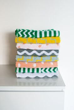 Geometric-printed towels in various colors