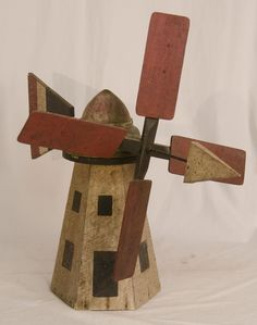 Paint Decorated Windmill Whirligig from asgoodasold on Ruby Lane