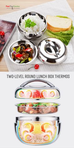 Two-level round lunch box thermos l Lunch Box Containers, Food Storage Containers, Lunch Boxes, Stainless Steel Lunch Containers, Lunch Box Thermos, Food Grade, Picnic, Ethnic Recipes, Easy