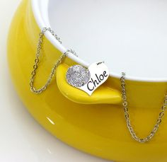 Cute and trendy heart necklace that can be personalized with your actual fingerprint and your choice of a name or a date. The heart charm is x Fingerprint Heart, Fingerprint Jewelry, Mom And Sister, Friend Necklaces, Heart Charm, Dog Tag Necklace, Printer, How To Memorize Things, Gifts For Her