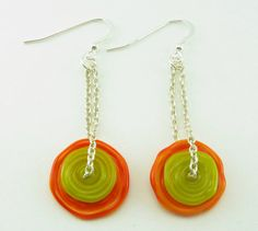 Orange Lime Green Earrings with Sterling Silver Chain by BooBeads, $40.00