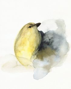 Cheery little watercolor bird by Amber Alexander. Makes you smile, doesn't it?  Coal Yellow Bird Art by amberalexander on Etsy, $20.00