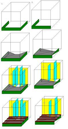 2個版本都非常正確 完全符合簡易抽的設計 1號圖有雙側過濾效果不錯,`左右馬達對沖可造成造流效果 不過多了很多施工步驟,黏缸師傅看了可能會頭大  2號圖的施工就顯得簡易一些,後續的整理工作也可以較輕鬆 我建議你用2號 至於造流的部份,可以在進水時加三通管,一管牽至右邊 這樣一一管沖上,一管沖下,也可當造流 另外背部的隔局,我建議揚馬那格縮小到有馬達可以放下的位置 多的空間,平均給第一跟第二格 第2片藍色玻璃最高的那片不用黏 最左邊那片往上提高,底下騰出空間,讓水從上面經過濾材過濾後再往下流到揚馬那格 因此你的濾材上面就可以加白棉 這樣第三格也會變成一個污泥集中區 揚馬吸水不要接長,以免吸到污泥