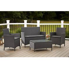 This Cosco Outdoor Jamaica 4-Piece Patio Conversation Set, in Black, will turn your outdoor patio or deck into a comfortable seating area. It includes two chairs, a loveseat and a table, all made out of low-maintenance resin wicker. The chairs and loveseat both feature a soft and comfortable cushion that is removable for easy cleaning. This wicker patio conversation set features a matching tempere *** See this great product.
