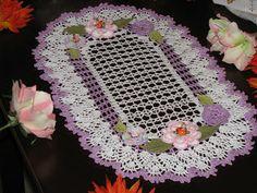 Krone Crochet: Brand new oval crochet doily with flowers