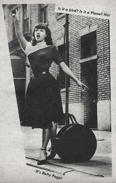 """""""Is it a bird? Is it a Plane? No! It's Betty Page!""""  Jest, July 1957"""