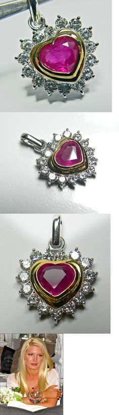 Necklaces and Pendants 165042: 3.50Cts Natural Burmese Ruby And Diamonds Heart Pendant 18K Gold -> BUY IT NOW ONLY: $7977.54 on eBay!