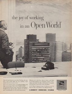 "Description: 1961 L*O*F GLASS vintage magazine advertisement ""Open World"" -- the joys of working in an Open World ... Libby * Owens * Ford -- Size: The dimensions of the full-page portion of the two-page advertisement are approximately 10.5 inches x 13.5 inches (26.75 cm x 34.25 cm). The dimensions of the half-page portion of the two-page advertisement are approximately 5.25 inches x 13.5 inches (13.25 cm x 34.25 cm). Condition: This original vintage two-page advertisement is in Excellent…"