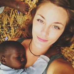 """wanderingwithmary """"Favorite moment of the day: laying on the swing at the babies home, listening to worship music and realizing that Charity had fallen asleep on my chest."""""""