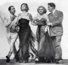 """William Powell, Myrna Loy, Jean Harlow, and Spencer Tracy for """"Libeled Lady"""" 1936"""
