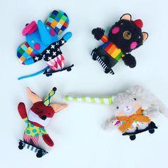 Skateboarding animals!  #etsy #skateboard #pinkcherksstudios #colorful Pink Cheeks, Skateboarding, Colorful, Christmas Ornaments, Holiday Decor, Animals, Etsy, Animales, Skateboard