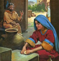 """1 Kings 17:13-14 - """"And Elijah said unto her, Fear not; go and do as thou hast said: but make me thereof a little cake first, and bring it unto me, and after make for thee and for thy son. For thus saith the LORD God of Israel, The barrel of meal shall not waste, neither shall the cruse of oil fail, until the day that the LORD sendeth rain upon the earth."""" Bible Story Book, Bible Stories, Jesus Christ Images, Jesus Bible, 1 Kings 17, Free Bible Images, Biblical Costumes, Bible Illustrations, Scripture Pictures"""