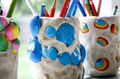 Fun pencil holders from salt dough and painted seashells. These are a lot of fun to make!