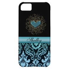 Vintage Aqua Damask with Heart Personalized Case iPhone 5C Case