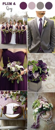 2d3ddc57952f plum purple and warm grey fall wedding colors Purple Wedding Themes, Green  Purple Wedding,