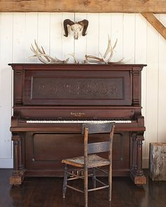 My daddy would play Christmas carols on an old upright piano in a room off from the kitchen. I desired to play the piano from that very moment. I mastered Silent Night at the age of five. Instruments, Old Pianos, Upright Piano, Piano Room, House Tours, Decoration, Interior And Exterior, Interior Design, Sweet Home