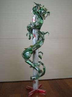 Dragon made from aluminum cans