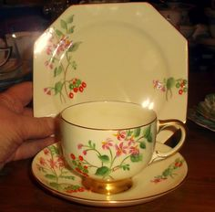 PARAGON Superb ART DECO Trio of Cup, Saucer & Plate Hisbiscus   eBay