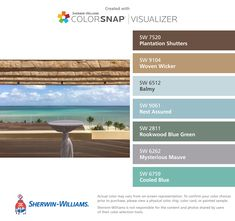 I found these colors with ColorSnap® Visualizer for iPhone by Sherwin-Williams: Plantation Shutters (SW 7520), Woven Wicker (SW 9104), Balmy (SW 6512), Rest Assured (SW 9061), Rookwood Blue Green (SW 2811), Mysterious Mauve (SW 6262), Cooled Blue (SW 6759).