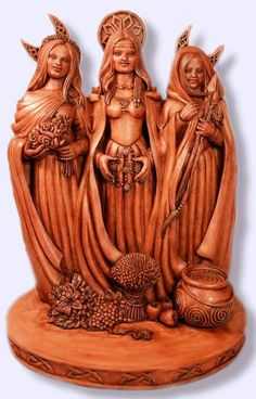 Maid Mother Crone Triple Goddess Pagan Wicca Wood Look Finish Statue TGS | eBay