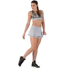 Saia Short Fitness Lisa Barra Plissada - honeybe