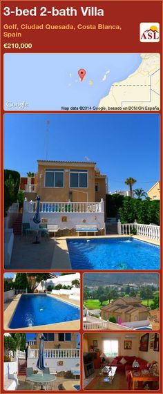 3-bed 2-bath Villa in Golf, Ciudad Quesada, Costa Blanca, Spain ►€210,000 #PropertyForSaleInSpain