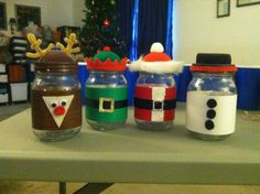 Christmas mason jars... Santa, Rudolph, Elf and Snowman - ready to fill with candies !!!  Christmas paper, fleece/felt, pompous, pipe cleaners, ribbon and some misc items