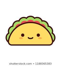 Cute Food Drawings, Cute Kawaii Drawings, Kawaii Art, Cartoon Drawings, Cute Doodle Art, Cute Doodles, Cute Art, Taco Cartoon, Food Cartoon