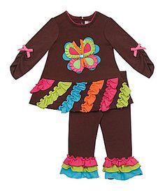 33da49daa45c Rare Editions Newborn Butterfly-Appliqued Dress & Ruffle-Leg Leggings Set