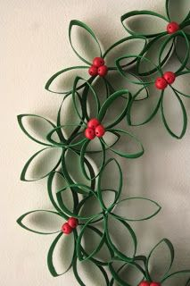 Perfect for your Pinterest: Toilet Paper Roll Wreath - cute Christmas Kids craft using recycled items