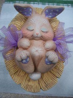 Ceramic Easter bunny baskettrinket boxcandy dish Easter image 2 Ceramic Bisque, Ribbon Design, Candy Dishes, Trinket Boxes, Easter Bunny, Cow, Basket, Ceramics, Etsy