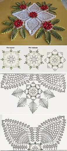 feito com barbante no 6 linhas mais branco barroco multicolor verde militar 9392 e vermelho 9153 flor mosquitinho de bico mede 90 x 90 cm - PIPicStats