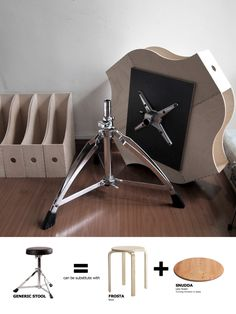 IKEA Hackers: KNUFF Transformable Coffee Table  This is an easy hack for everyone with no heavy duty works involved. All you need is liquid nail to secure everything in place like in the picture, then screw your artist stool under it. If you don't have an artist stool, you can substitute it with a FROSTA stool and a SNUDDA Lazy Susan to make it rotatable.