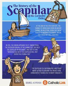 Infographic: The History Of The Brown Scapular - Catholic Faith - Religion Catholic Catechism, Catholic Religious Education, Catholic Beliefs, Catholic Bible, Catholic Quotes, Catholic Kids, Catholic School, Catholic Prayers, Catholic Saints
