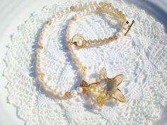 Pearl StarFish Swarovski Golden Shadow Vermeil by BlancheB on Etsy, $55.00
