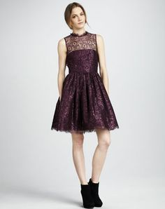 This perfectly girlie Alice   Olivia Ophelia Shimmery Lace Dress ($495) marries lace, Fall's rich burgundy hue, and a touch of metallics all in one standout piece.