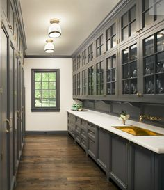 Kitchen Pantry Ideas - Simplified Bee... Love that you could use the tall side for pantry storage and still show the china/glassware on the other side.