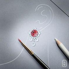 Beautiful design by @harrywinston #jewelrydesign #jewelry #jewellery #jewelryrendering #jewelrydesigner #jewelrydesign #harrywinston #diamond #ruby