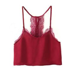 Yoins Burgundy Sexy Cropped Lace Cami (125 ZAR) ❤ liked on Polyvore featuring burgundy, cropped cami, sexy camisole, cropped camisole, red cami and red camisole