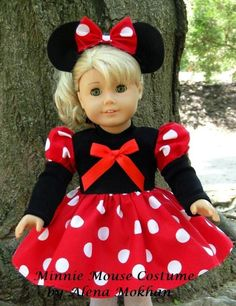 girl dolls 29 Incredible Character Transformations For Your American Girl Doll American Girl Outfits, Ropa American Girl, American Girl Doll Costumes, My American Girl Doll, American Doll Clothes, American Girl Crafts, Ag Doll Clothes, American Girl Halloween, Minnie Mouse Costume