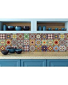 Amazon.de: Fliesenaufkleber Duett 24 PC Set Traditionelle Talavera (Fliesen  Sticker Bad U0026